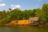 pic of dock a pond  - boat dock on the river on Phu Quoc Vietnam - JPG