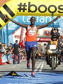 BARCELONA - FEB,2: Kenyan Wilson Kipsang, Current world record holder, finishing Granollers Half Mar