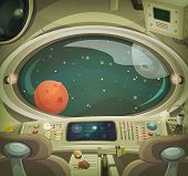 picture of spaceman  - Illustration of a cartoon graphic scene of cosmic spacecraft interior traveling through scifi cosmos - JPG