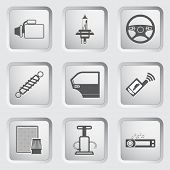 Car part and service icons set.