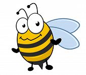 stock photo of bee cartoon  - Little striped black and yellow honey bee with a bemused smiling expression - JPG