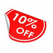 Red Circle Label 10 Percent Off