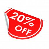 Red Circle Label 20 Percent Off