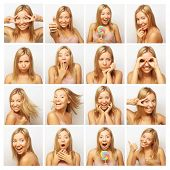 picture of cheeky  - Collage of the same woman making diferent expressions - JPG
