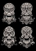 image of sugar skulls  - fully editable vector illustration of day of the dead skull tattoo vector set on isolated black background - JPG