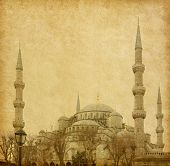 The Sultan Ahmed Mosque (Blue Mosque) is a historic mosque in Istanbul, Turkey. Added paper texture.