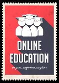 stock photo of long distance  - Online Education on Red Background - JPG
