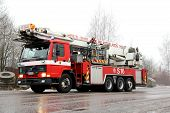 Volvo Fl12 Intercooler Fire Truck Rushing To The Fire Scene