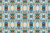 pic of ziggurat  - Intricate ikat pattern background colorful fashion fabric ornament - JPG