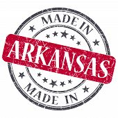Made In Arkansas Red Round Grunge Isolated Stamp