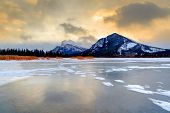 Frozen Vermilion Lakes On A Cold Winter Morning