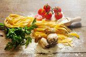 Raw Tagliatelle With Tomato And Boletus