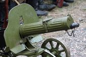 stock photo of maxim  - Old Powerful Military machine Gun  - JPG
