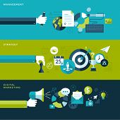 Set of flat design vector illustration concepts for management, strategy and digital marketing