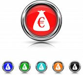 Euro Sack Icon - Six Colors Vector Set