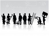 pic of hard_hat  - Workers with different tools on technical background - JPG