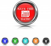 Save The Date Icon - Six Colors Vector Set