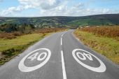 40 Mph Signs On A Country Road, Dartmoor England.