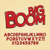 Abstract Boom Pop Art Font And Numbers, Eps 10 Vector