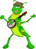 stock photo of banjo  - A Grasshopper playing the Banjo and singing - JPG