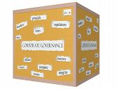 Corporate Governance 3D Cube Corkboard Word Concept