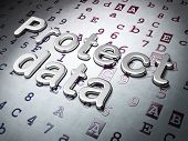 Privacy concept:  Protect Data on Hexadecimal Code background