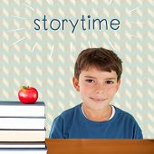 picture of storytime  - The word storytime and cute boy smiling against red apple on pile of books - JPG