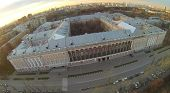 Catherine (Golovinskiy) Palace in Moscow at sunset, aerial view
