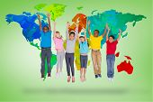 Elementary pupils jumping against green vignette with world map
