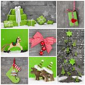 Merry Christmas Greeting Card. Xmas Decoration In Red, White And Green Colors With Wood.