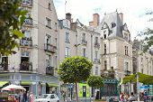 People On Rue St Aubin Street In Angers, France