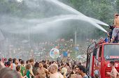 Ozora, Hungary - August 01: Fire Department Spray Water On Crowd On Ozora Festival, One Of The Great