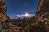 Beautiful Full Moon Rise Over Salt Valley