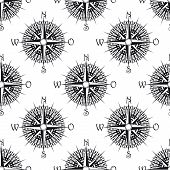 Seamless nautical pattern with old compass