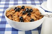 Bowl Of Bran And Corn Flakes With Blueberries
