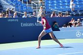 Two times Grand Slam champion Victoria Azarenka practices for US Open 2013 at Arthur Ashe Stadium