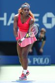 Sixteen times Grand Slam champion Serena Williams during second round match at US Open 2013
