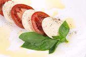 Tasty caprese salad.