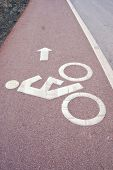 Sign Of Bicycle Lane Beside The Road