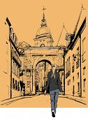 Woman strolling in an old city in France - Vector illustration