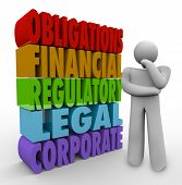 Obligations 3d words beside a person thinking of his responsibilities including financial, regulator