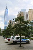 NYPD cars provide security near Freedom Tower in Lower Manhattan