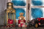 Christmas Window Sill Decoration With Old Nostalgic Toys.