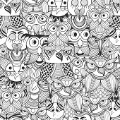 Vector Seamless Pattern With Doodle Owls