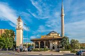Et'hem Bey Mosque And Tirana Clock Tower.