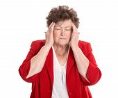 Isolated Older Woman With Headache, Migraine Or Forgetfulness.