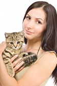 Beautiful young woman with a kitten Scottish Straight