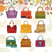 Autumn fashion. Women's handbags and leaves top