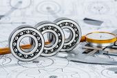 stock photo of bearings  - Technical drawings with the Ball bearings - JPG