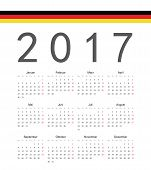 Simple German 2017 Year Vector Calendar